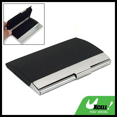 Silvery Stainless Steel Business Card Holder Case Black