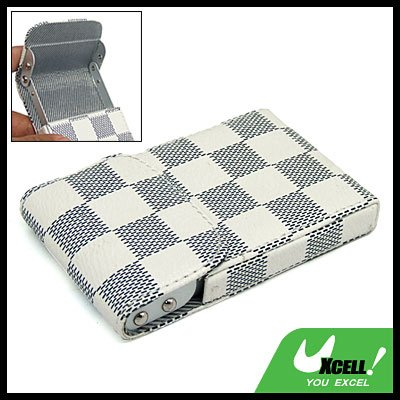 Grid Pattern Leather Aluminum Business Name ID Card Holder Case
