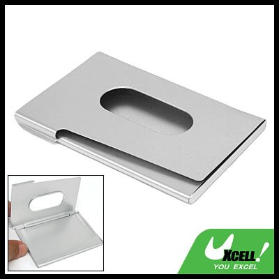 Silvery Aluminum Business Name Contacts Card Holder Case