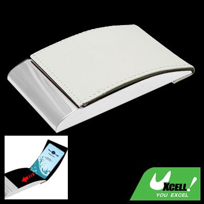 Vertical White Leather Metal Business Card Case Holder