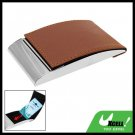 Vertical Brown Leather Stainless Steel Business Card Case Holder