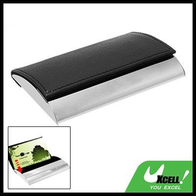Black Leather Surface Metal Business Card Holder Case