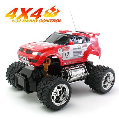 "Toy Car - Radio Remote Control 4x4 Cross Country Vehicle 1:32 Red ""Thunder 2"""