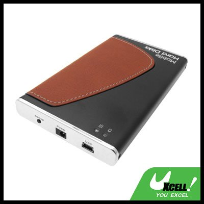 "Brown Leather 2.5"" USB OTB SATA HDD Mobile Hard Disk Enclosure Case"