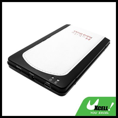 "2.5"" USB OTB SATA HDD Leather Mobile Hard Disk Enclosure Case White"
