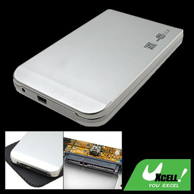 "Aluminum SATA 2.5"" USB 2.0 HDD Hard Drive Enclosure Case Silvery"