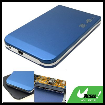 "SATA 2.5"" USB 2.0 Aluminum HDD Case Hard Drive Enclosure Blue"
