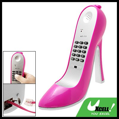 Pinkish Super High-Heel Stiletto Shoe Loafer Shape Telephone Corded Phone