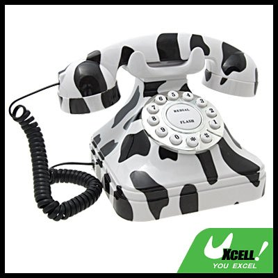 Zebra Pattern Square RJ11 Corded Round Dial Desk Telephone
