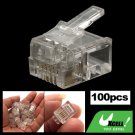 100 x Clear RJ11 RJ-11 Modular Plug Telephone Connector 6P4C Cat3