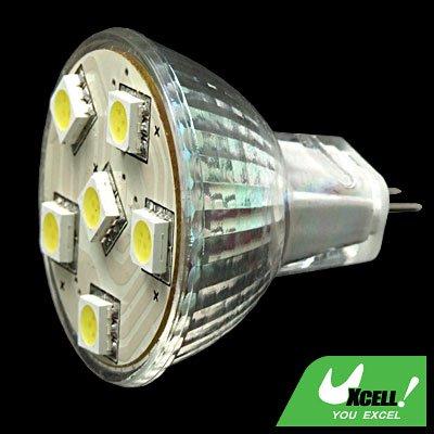 12V MR16 Spotlight Bulb White Light w/6 SMD 5050 LED