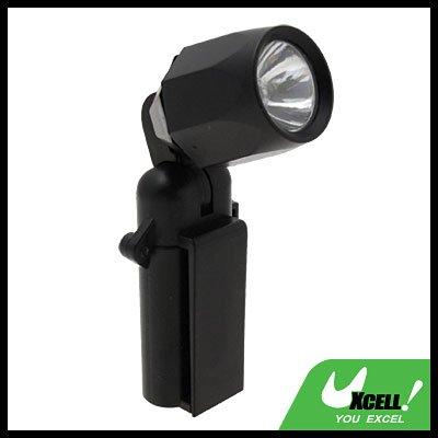 90 Degree Rotating Lamp Head Clip Torch Flashlight Black