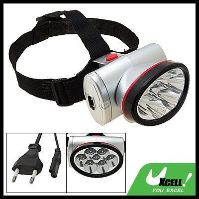 EU Plug 7 LED Mini Headlamp Head Flashlight Torch with Head Strap