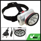 EU Plug 7 LED Mini Headlamp Head Flashlight Torch with Head Strap