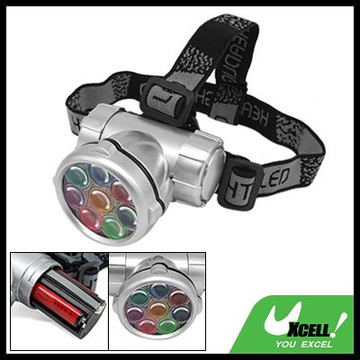 8 White LED + Head Strap Mini Headlamp Flashlight