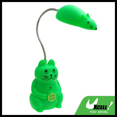 Green Cat amd Mouse LED Rechargeable Reading Lamp