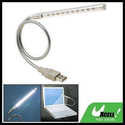 Flexible 10 LED USB Notebook Laptop Reading Lamp Light