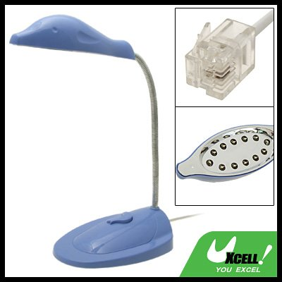 Telephone RJ11 Powered 12 LED Desk Reading Lamp Light Dolphin