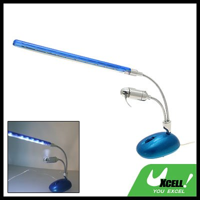 10 LED USB Light PC Laptop Desk Lamp Blue with Fan