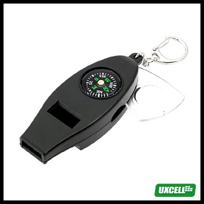 Key Ring Whistle with Compass + Thermometer + 3X Magnifier Black