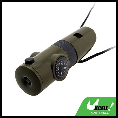 Multifunctional Whistle LED Thermometer 3X Magnifier Compass