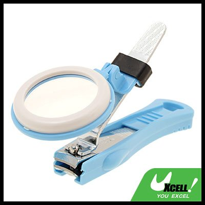 Baby Blue Healthy Magnifier Magnifying Glass Nail Clipper Cutter