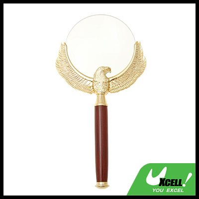 Wooden Handle 3X Magnifying Glass with Golden Metal Eagle Reading Magnifier