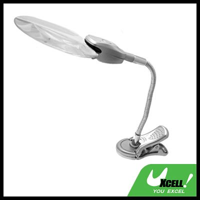 Flexible LED Magnifier Magnifying Glass Lamp Light with Clip