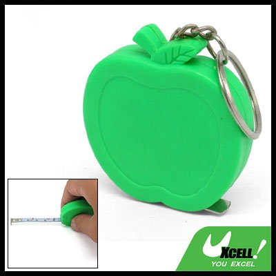 Pocket Apple Retractable Tape Measure Ruler Green Keychain