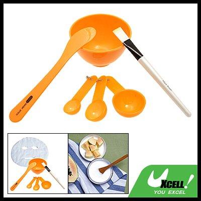 Orange 6 in 1 Beauty Accessory Measuring Spoon Mask Stick Bowl Brush