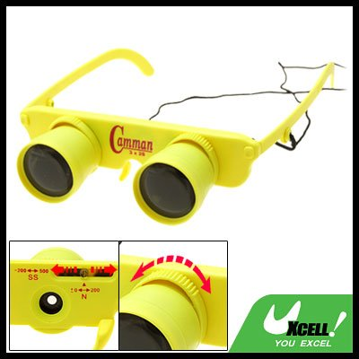 Yellow 3X Children Adjustable Focus Binoculars Eyeglass Magnifier