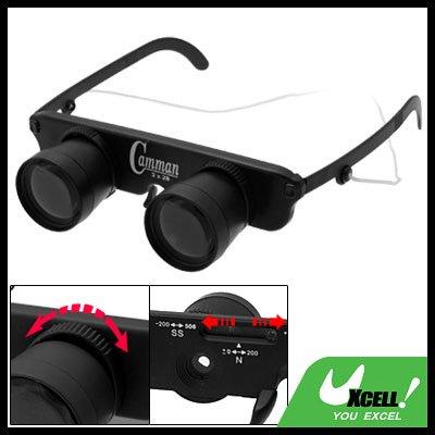 Black 3X Adjustable Focus Binoculars Eyeglass Magnifier