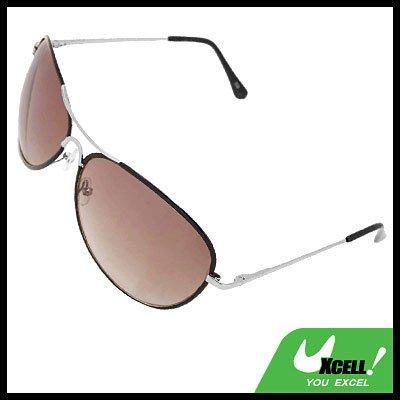 Black Metal Frame Light Brown Aviator Sunglasses