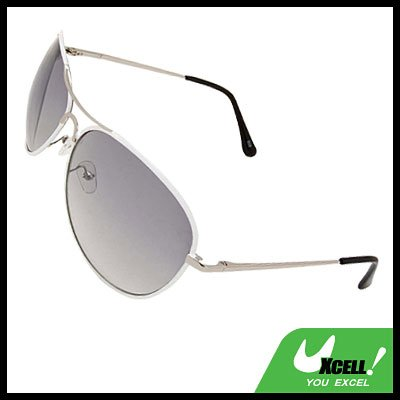 Light Grey Aviators Sunglasses in White Metal Frame