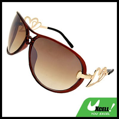 Heart Design Women's Oversized Aviator Sunglasses Brown