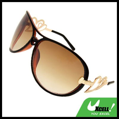Amber Lens Oversized Women's Aviator Sunglasses Heart Design