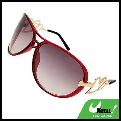 Wine Red Frame Oversized Women's Aviator Sunglasses Heart Design