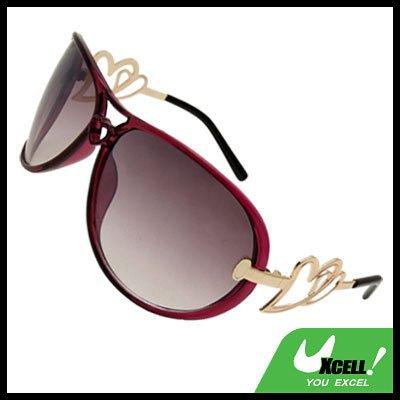 Women's Aviator Oversized Sunglasses Heart Design Purple Frame