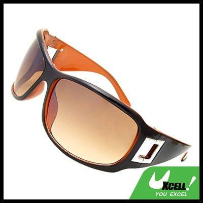 Lohan Transparent Brown Lens Black Frame Oversize Men Motorcycle Sunglasses