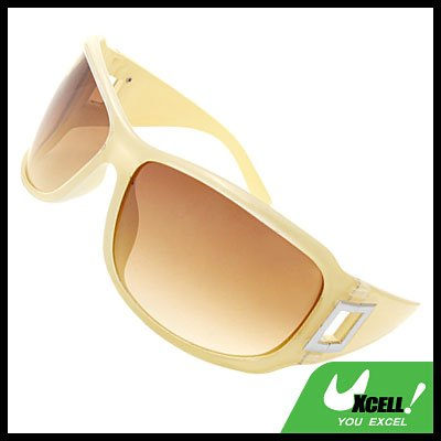 Lohan Transparent Offwhite Oversize Men Motorcycle Brown Lens Sunglasses