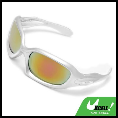 Silvery Frame and Color Coated Lens Men's Motorcycle Sunglasses