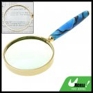 3X Blue Handle Golden Frame Magnifier Magnifying Glass