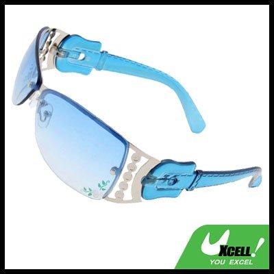Metal Frame Flower Sports Girls Womans Stylish Sunglasses Blue