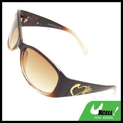 Brown Womans Stylish Heart Girls Sports Sunglasses