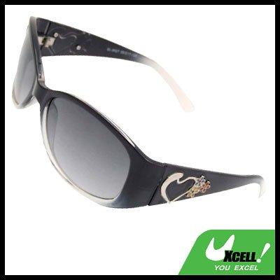 Womans Stylish Heart Girls Sports Sunglasses Black