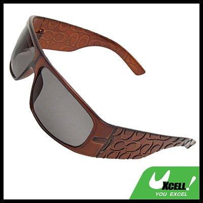 Unevenly Coffee Wide Lens Eye Wear Sport Men's Sunglasses