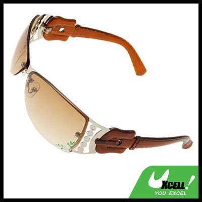 Sports Metal Frame Flower Girls Womans Brown Stylish Sunglasses