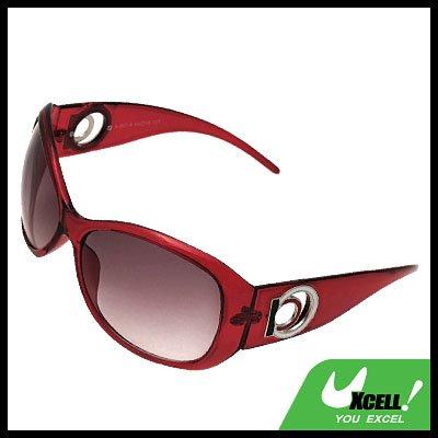 Red Unisex Men's Women's Plastic Sports Sunglasses