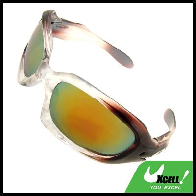 Transparent Brown Frame and Color Tinted Lens Men's Sports Sunglasses