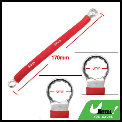 Double Side 6mm 8mm Red Soft Grip Offset Box End 12 Point Wrench Tool